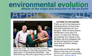 April 2015 Environmental Evolution newsletter