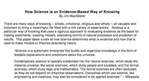 How Science is an Evidence-Based Way of Knowing  (short version)